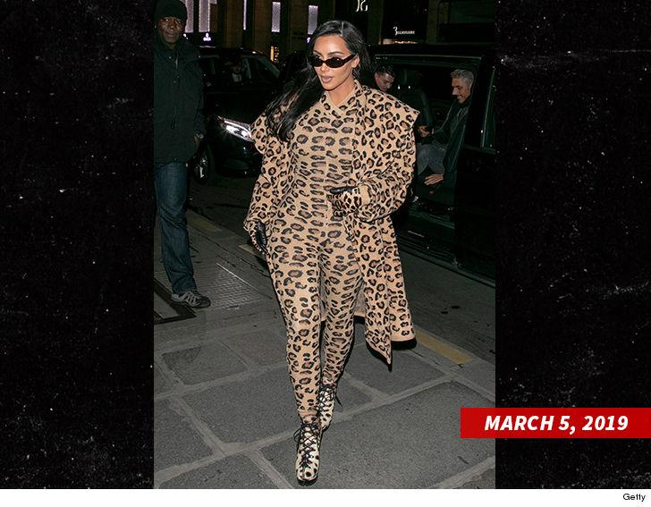 0893e9226a Kim Kardashian Rocks Leopard Print Suits for Paris Fashion Week ...