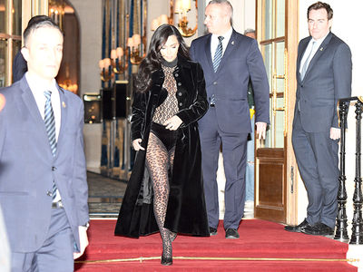 Kim Kardashian Rocks Leopard Print Suits for Paris Fashion Week