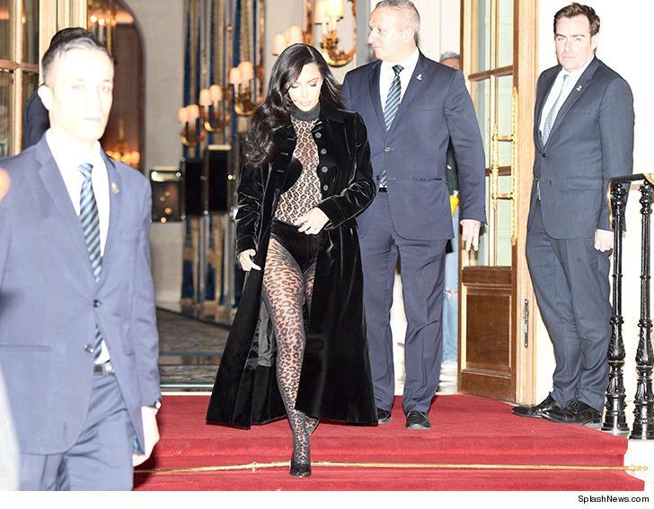 Kim Kardashian Rocks Leopard Print Suits for Paris Fashion Week 4