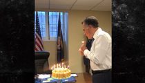 Mitt Romney Blows Out Twinkie Birthday Cake Candles One by One