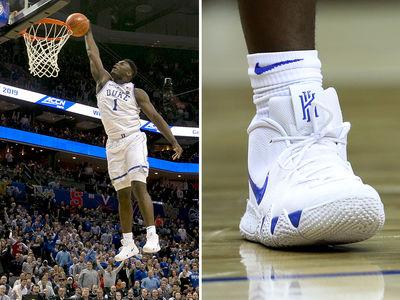 Zion Williamson Wears Nike Kyrie 4 Sneakers in Duke Return