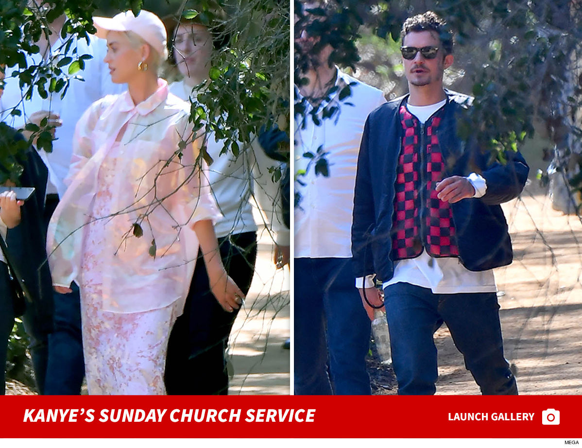 9316284dc315 Kanye West s Sunday Service seems to be drawing Hollywood types left and  right ... seeing how Katy Perry and Orlando Bloom are the latest to pay a  visit.