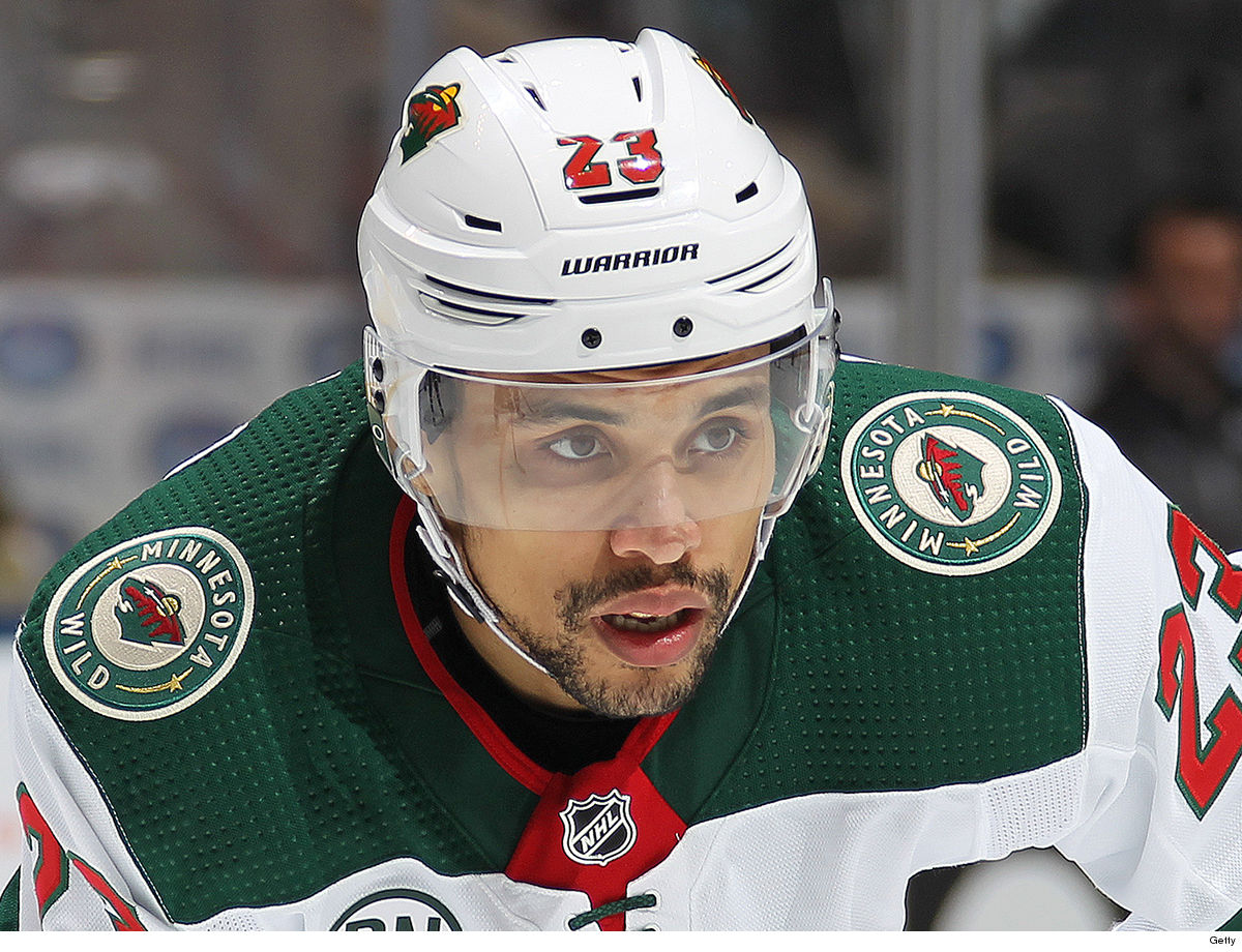 edda31c64c7 NHL forward JT Brown was arrested just hours before his Minnesota Wild team  took on the Dallas Stars on Saturday ... 'cause cops say he was involved in  TWO ...