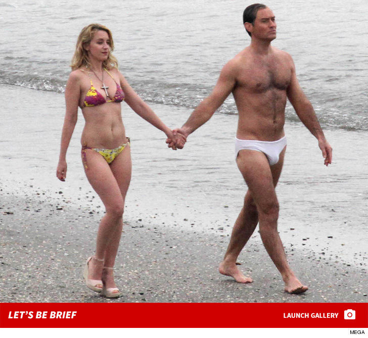 Jude Law Strips Down to Speedo, Gets Handsy with New Pope
