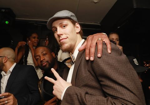 Dwyane Wade and Kelly Olynyk
