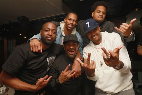 Dwyane Wade, Victor Cruz, DJ Clue and Carmelo Anthony