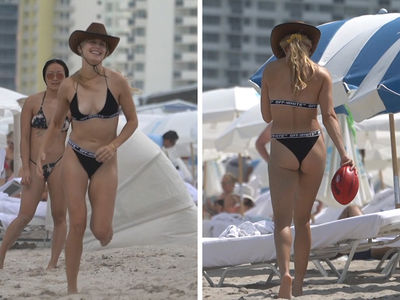 Genie Bouchard Plays Beach Football In Tiny Bikini & Cowboy Hat