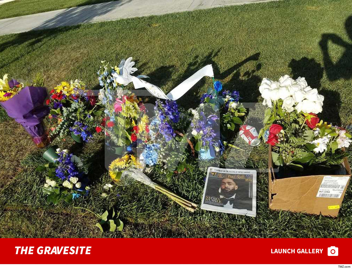 Nipsey Hussle Hollywood Hills Gravesite Flooded w/ Flowers Post-Funeral