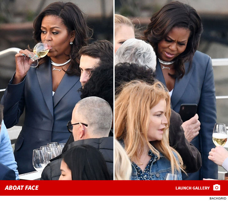 Michelle Obama On Paris Dinner Cruise During Notre Dame border=
