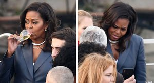 Michelle Obama on Paris Dinner Cruise During Notre Dame Cathedral Fire