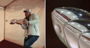 Rob Gronkowski Dented Lombardi Trophy Using it As a Baseball Bat