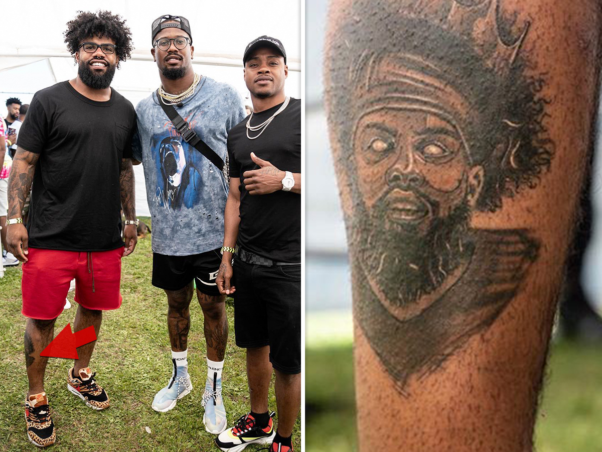 bc2761f70 Ezekiel Elliott will NEVER forget what he looked like when he dominated the  NFL ... 'cause the Dallas Cowboys superstar got his own mug tatted on his  leg!!!
