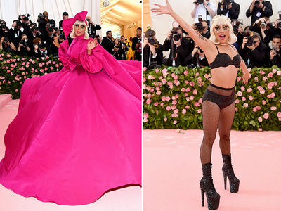 Lady Gaga Struts in Gigantic Pink Dress at Met Gala, Then 3 More Outfits