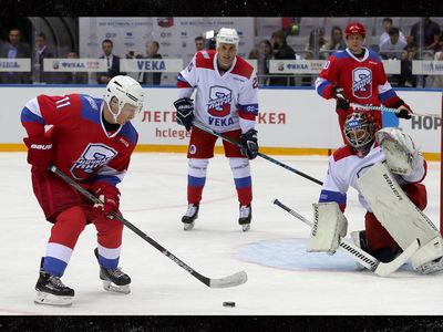 Vladimir Putin Falls On His Face During Ice Hockey Game