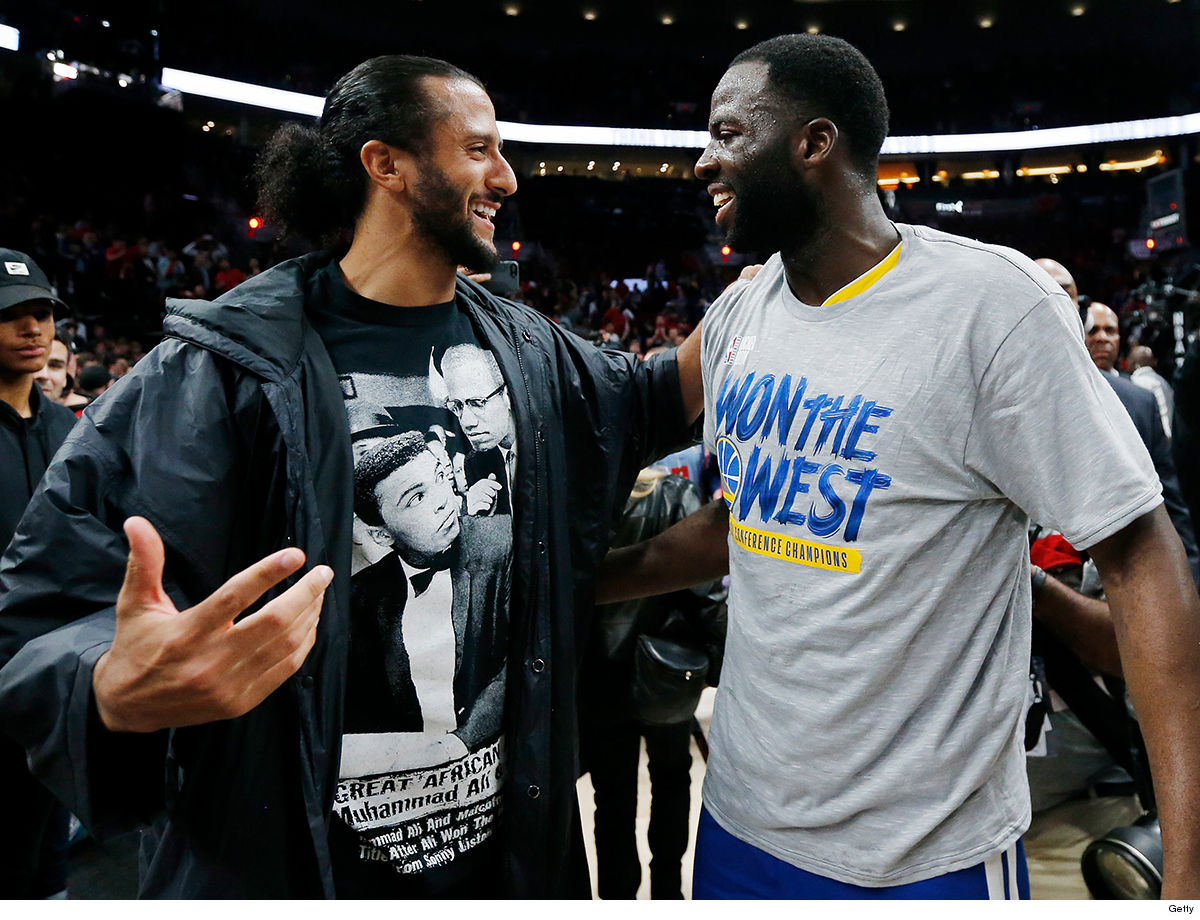 6162ee1dd12 Colin Kaepernick wasn t just courtside to watch the Golden State Warriors  beat the Portland Trail Blazers on Monday ... he celebrated the win ON the  court ...