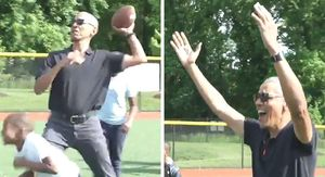 Barack Obama Takes the Field with Kids at Nationals Youth Academy