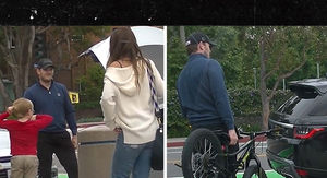 Chris Pratt Struggles with Son's Bike As Katherine Schwarzenegger Looks On