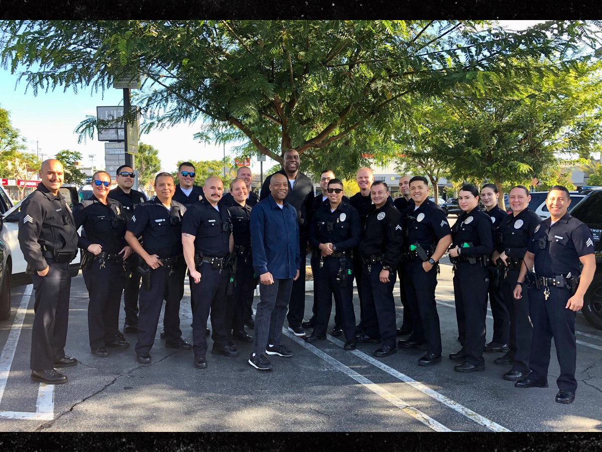Magic Johnson Crashes LAPD Roll Call, 'It Made Our Day