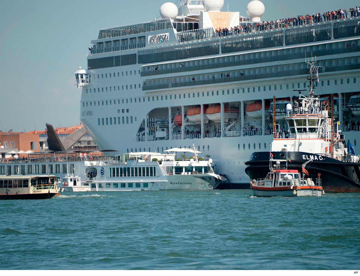 Giant Cruise Ship Crashes Into Smaller Boat While Docking ... Panics Venice Crowd