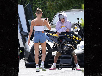 Justin Bieber Poses by New Drew Motorcycle for Hailey