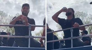 Drake Chugs Beer At Toronto Raptors' Championship Parade!!!