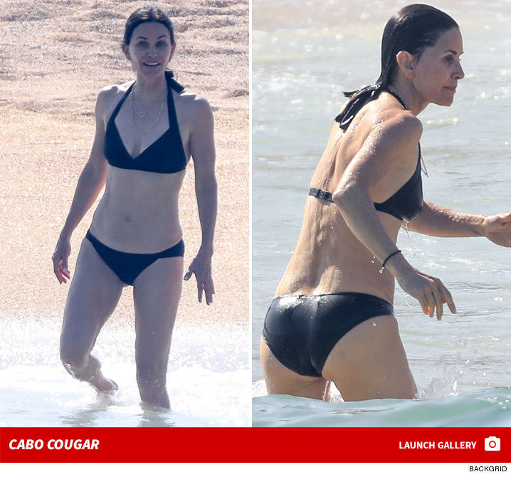 Courteney Cox Lookin' Fab at 55 ... Back in Mexico with Jen for Bday Fun