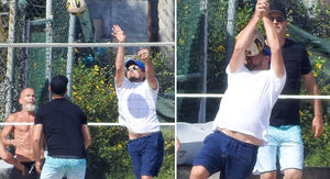 Leonardo DiCaprio Takes It in the Face During Beach Volleyball