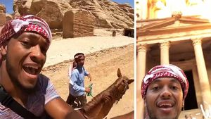 Brett Hundley Rides Donkey Visiting Petra, Jordan