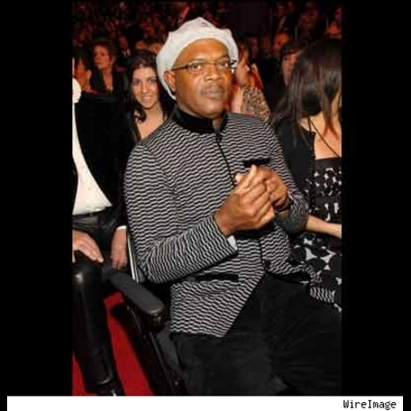 Samuel L. Jackson's Kangol cap we can deal with, but the womens Anne Klein sweater has got to go!