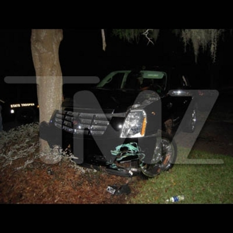 Tiger Woods crashed his Cadillac Escalade into a tree in front of his home.