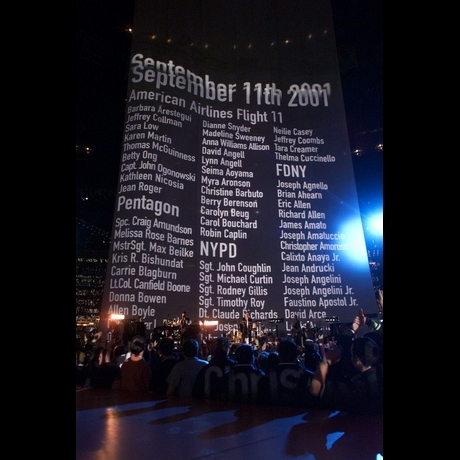 U2's remembrance wall during the XXXVI Halftime Show!