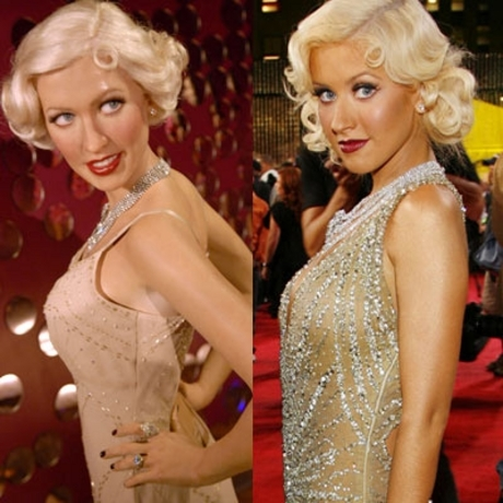 Miss Aguilera wears less makeup to look fake than her wax figure does to look real.