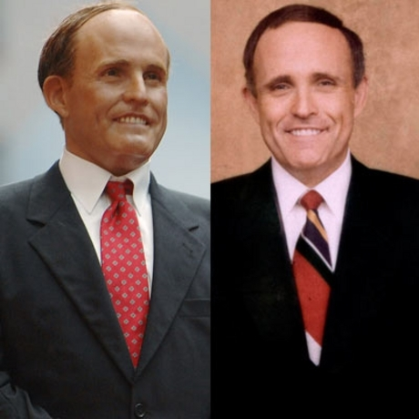 Does this waxen Rudy Giuliani look like he can take the heat of the Oval Office? And how about the fake one?